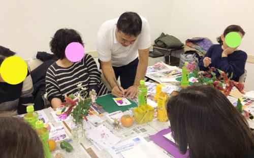 絵手紙教室のようす(2019年12月撮影)
