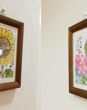 絵手紙の飾り方、ミニ額で飾る方法