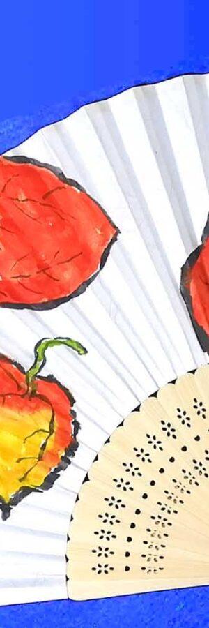 手書き♪100均扇子 無料動画│ダイソー│初心者│ほおずき│絵手紙イラスト│6月・7月・8月・夏│夏休みの宿題