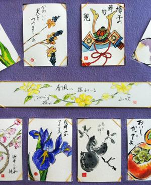 輪ゴム式~絵手紙の飾り方(展覧会用)、飾る方法