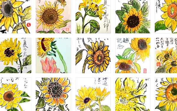 【まとめ】絵手紙ひまわり80作品🌻7月・8月【暑中見舞い・残暑見舞い】