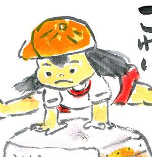 【夏の絵手紙】桃、神田祭、千日紅、お相撲さん、桔梗、ひょっとこ【7月・8月・9月】